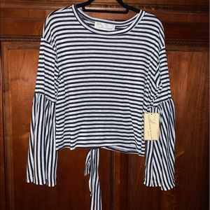 Vintage Havana Striped Lace Up Top